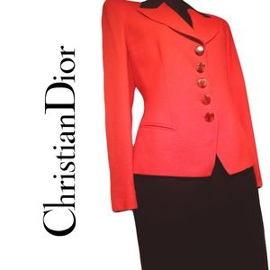 Christian Dior Vintage Wool Skirt Suit Size 2